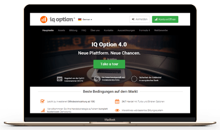 IQ Option Homepage und Plattform