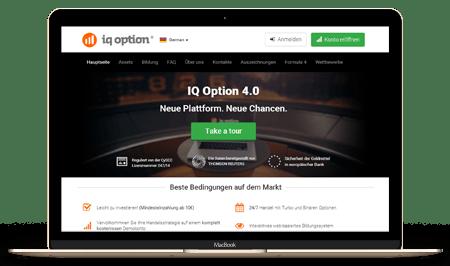 IQ Option Homepage und Plattform