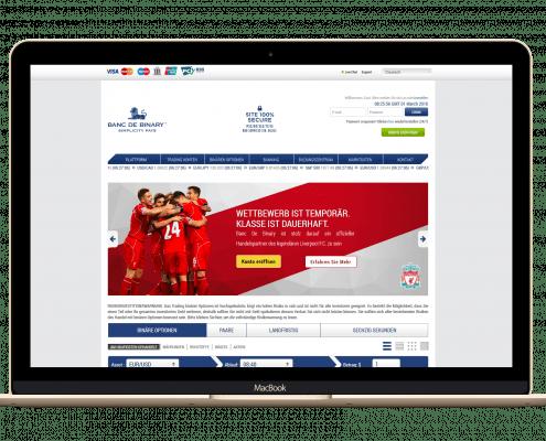 BancdeBinary Startseite und Handelsplattform