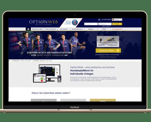 OptionWeb Startseite und Handelsplattform