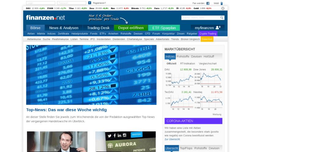 Finanzen.net Webseite